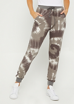 Gray Tie Dye Soft Brushed Jogger
