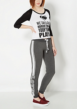 Charcoal Gray Love Triple Striped Jogger