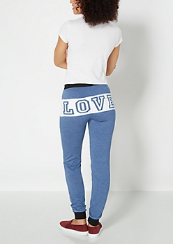 Blue Love Striped Fleece Jogger