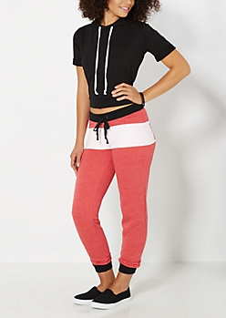 Red Love Striped Fleece Jogger