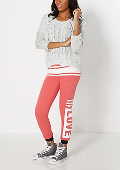 Red Striped Love Fleece Jogger