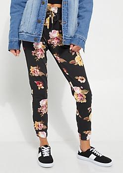 Black Floral Jogger