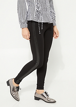 Black Ponte Knit Leather Trim Legging