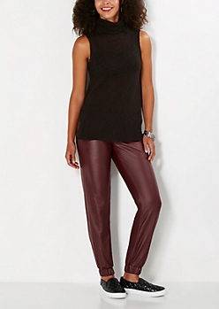 Burgundy Faux Leather Jogger