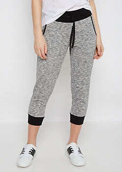 Black Space Dye Cropped Jogger