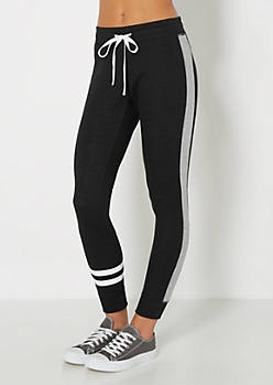 Black Paneled Slim Jogger