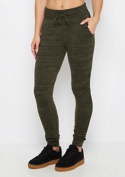 Olive Marled Soft Knit Slim Jogger