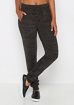 Black Marled Soft Knit Slim Jogger