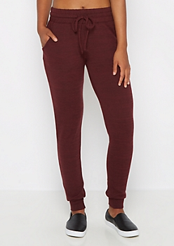 Burgundy Soft Knit Slim Jogger