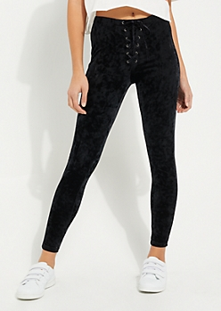 Crushed Velvet Lace Up Legging