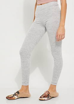 Charcoal Gray Marled Hacci Legging