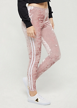 Pink Crushed Velvet Varsity Legging