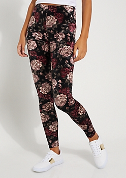 Black Floral Crushed Velvet Legging