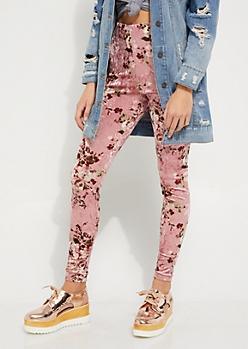 Pink Floral Crushed Velvet Legging