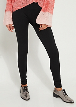 Black Cable Knit Fleece Legging