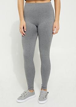 Gray Cable Knit Fleece Legging