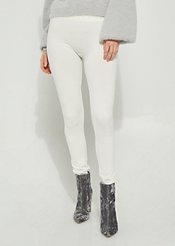 Ivory Cable Knit Fleece-Lined Leggings