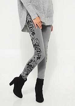 Gray Flocked Floral High Rise Leggings