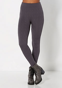 Gray Fleece Cable Rib Legging