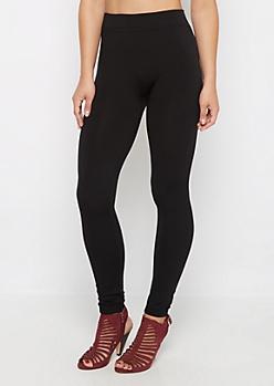 Black Fleece Lined Knit Legging