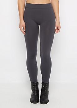 Charcoal Fleece Lined Knit Legging