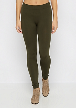 Olive Fleece Lined Legging