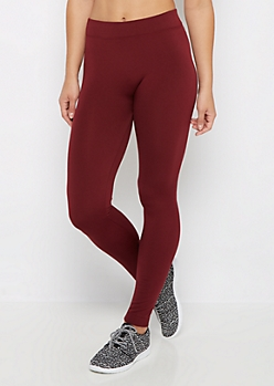 Burgundy Fleece Lined Legging