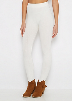 White Diamond Cable Knit Fleece Legging