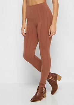 Light Brown Diamond Cable Knit Fleece Legging