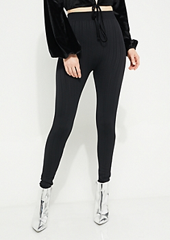 Black Cable Knit Fleece Lined Legging