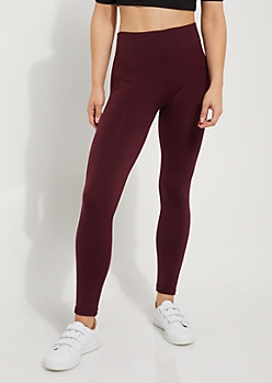 Burgundy Fleece Slimming Legging