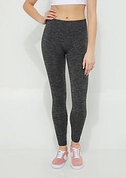 Charcoal Gray Space Dye High Rise Fleece Legging