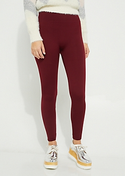 Burgundy Faux Fur Lined Legging