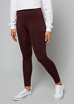Burgundy Space Dye Fleece Lined Legging