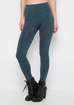 Teal Space Dye Fleece Lined Legging