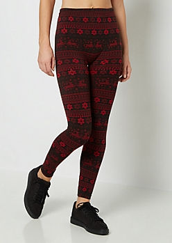 Red Reindeer Fleece Legging