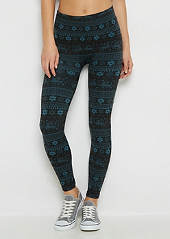 Teal Reindeer Fleece Legging