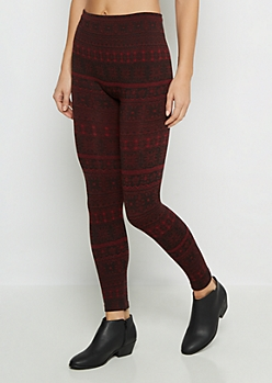 Burgundy Medallion Fleece Legging
