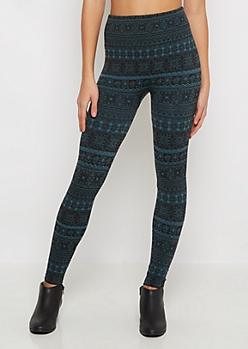 Teal Medallion Fleece Legging
