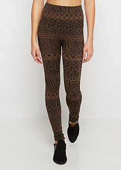 Brown Animal Tribal Fleece Legging