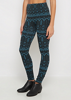 Teal Geo Aztec Fleece Legging