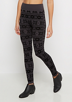 Charcoal Snowflake Flocked Fleece Legging