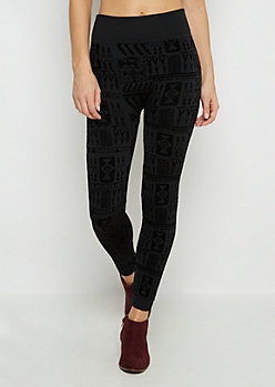 Black Aztec Flocked Fleece Legging