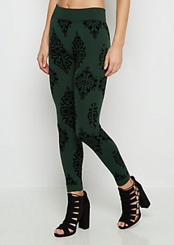 Green Victorian Flocked Fleece Legging