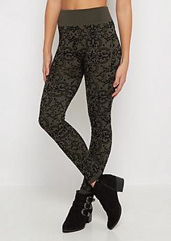 Olive Jacquard Flocked Fleece Legging