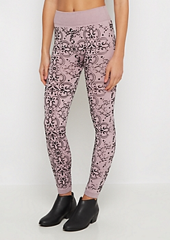 Pink Jacquard Flocked Fleece Legging