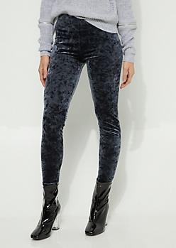 Gray Crushed Velvet Legging