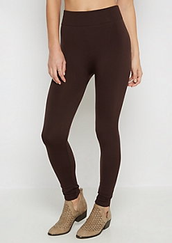 Brown Cable Knit Fleece Legging