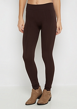 Brown Twisting Cable Knit Fleece Legging