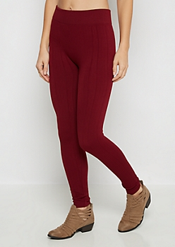 Burgundy Twisting Cable Knit Fleece Legging